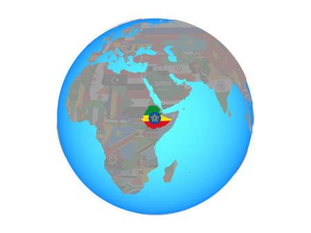 Ethiopia with national flag on blue political globe. 3D illustration isolated on white background.