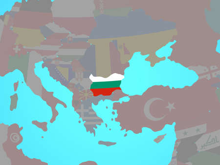 Bulgaria with national flag on blue political globe. 3D illustration. Stock Photo