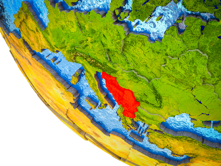 Former Yugoslavia on model of Earth with country borders and blue oceans with waves. 3D illustration. Stock Photo