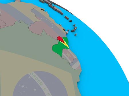Guyana with embedded national flag on simple blue political 3D globe. 3D illustration.