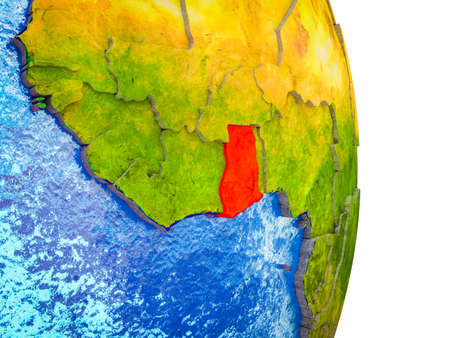 Ghana on 3D model of Earth with divided countries and blue oceans. 3D illustration. 스톡 콘텐츠