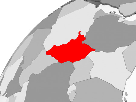 Map of South Sudan in red on grey political globe with transparent oceans. 3D illustration.