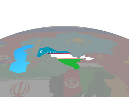 Uzbekistan with national flag on political globe. 3D illustration.