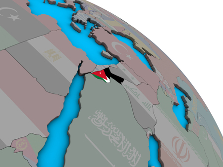 Jordan with embedded national flag on simple blue political 3D globe. 3D illustration.
