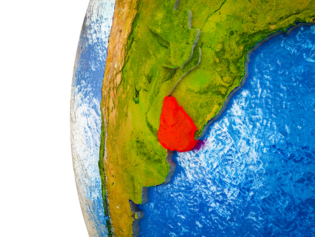 Uruguay highlighted on 3D Earth with visible countries and watery oceans. 3D illustration.
