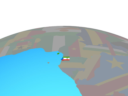 Equatorial Guinea with national flag on political globe. 3D illustration.