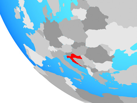 Croatia on simple globe. 3D illustration.