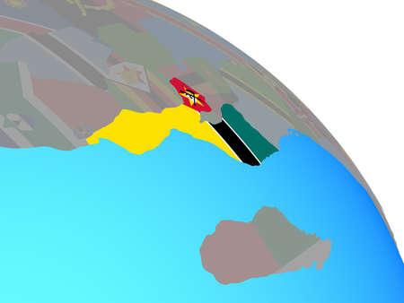 Mozambique with national flag on simple blue political globe. 3D illustration. Standard-Bild - 112463945