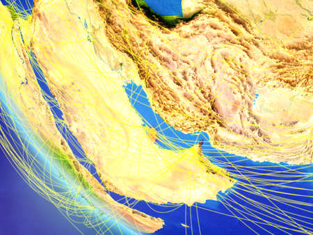 Qatar on planet Earth from space with network. Concept of international communication, technology and travel. 3D illustration.
