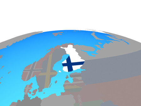 Finland with national flag on political globe. 3D illustration.