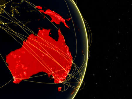 Australia on dark Earth in space with networks. Concept of internet, telecommunications or air traffic between continents. 3D illustration.