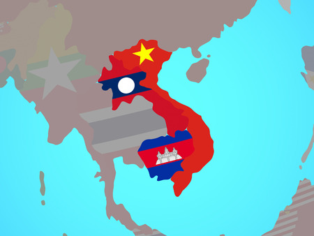 Indochina with national flags on blue political globe. 3D illustration. 版權商用圖片