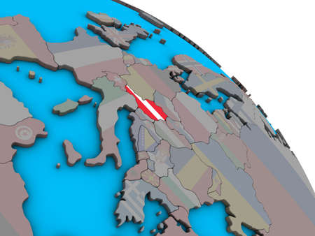 Austria with embedded national flag on simple blue political 3D globe. 3D illustration.