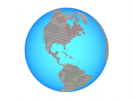 Bahamas with national flag on blue political globe. 3D illustration isolated on white background. Stock Photo