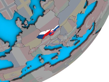 Former Czechoslovakia with national flags on blue political 3D globe. 3D illustration. 写真素材