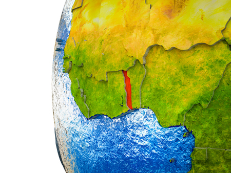 Togo highlighted on 3D Earth with visible countries and watery oceans. 3D illustration.
