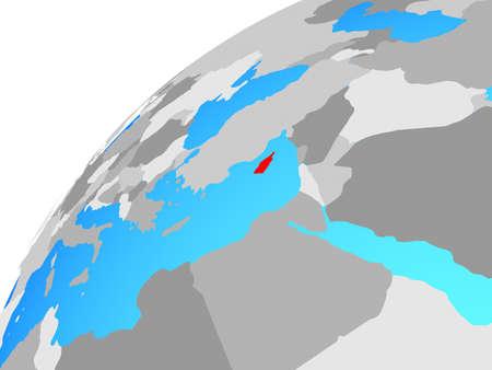 Cyprus on globe. 3D illustration.