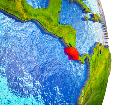 Costa Rica on 3D model of Earth with divided countries and blue oceans. 3D illustration.