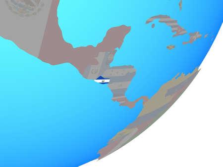 El Salvador with embedded national flag on blue political globe. 3D illustration.