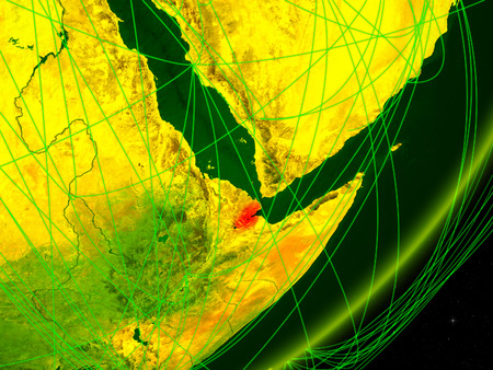 Djibouti on green model of planet Earth with network at night. Concept of digital technology, communication and travel. 3D illustration.