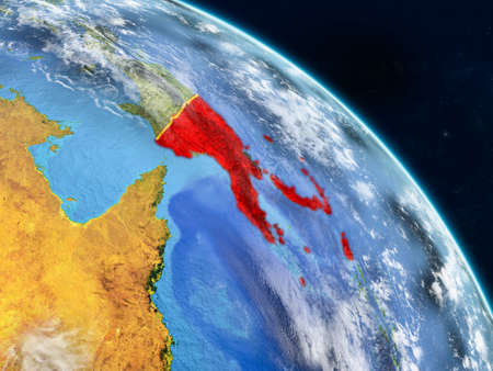Papua New Guinea from space on realistic model of planet Earth with country borders and detailed planet surface and clouds. 3D illustration. Stock Illustration - 112172308