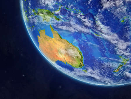 Australia on planet Earth from space. Very fine detail of planet surface and clouds. 3D illustration.