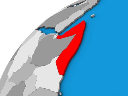 Somalia on 3D globe. 3D illustration. Stockfoto