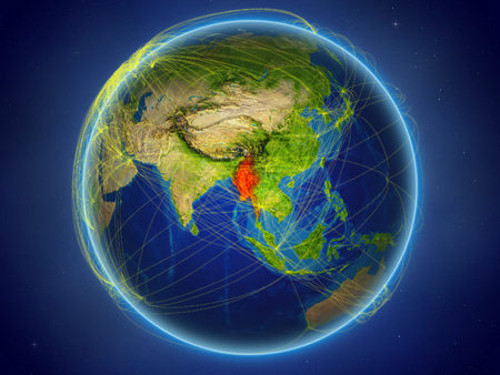 Myanmar from space on planet Earth with digital network representing international communication, technology and travel. 3D illustration. Stock Photo