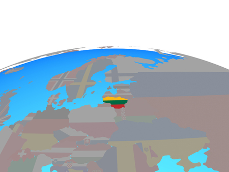 Lithuania with national flag on political globe. 3D illustration.