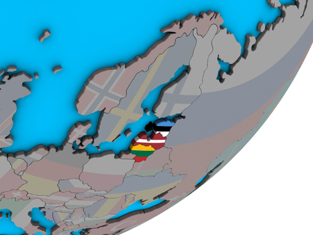Baltic States with national flags on blue political 3D globe. 3D illustration. Stock Photo