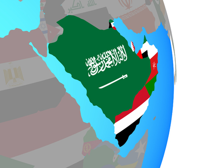 Arabia with national flags on simple political globe. 3D illustration.