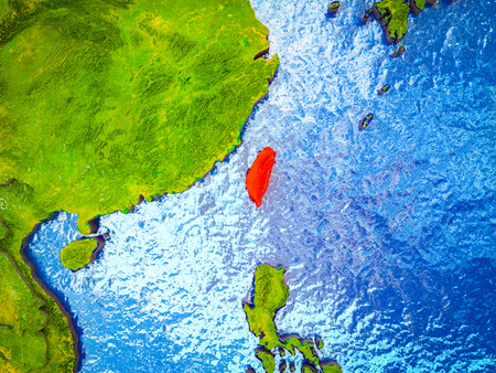 Taiwan on model of 3D Earth with blue oceans and divided countries. 3D illustration.