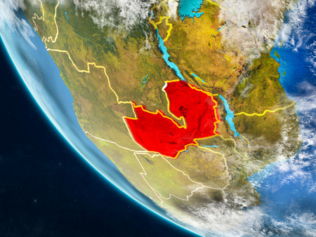 Zambia on planet Earth from space with country borders. Very fine detail of planet surface and clouds. 3D illustration.