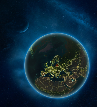 Lithuania at night from space with Moon and Milky Way. Detailed planet Earth with city lights and visible country borders. 3D illustration. Stok Fotoğraf
