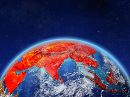 Asia on planet Earth with country borders and highly detailed planet surface and clouds. 3D illustration. 写真素材
