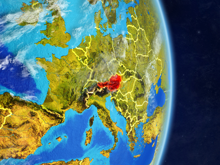 Austria on planet planet Earth with country borders. Extremely detailed planet surface and clouds. 3D illustration.
