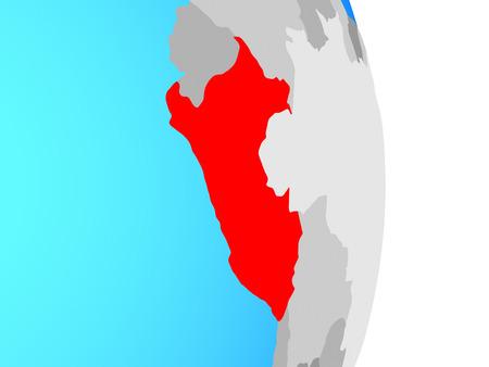 Peru on simple political globe. 3D illustration. Imagens