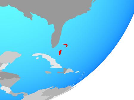 Bahamas on blue political globe. 3D illustration.