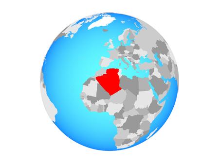 Algeria on blue political globe. 3D illustration isolated on white background. Stock Photo