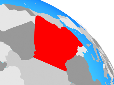 Algeria on simple blue political globe. 3D illustration.