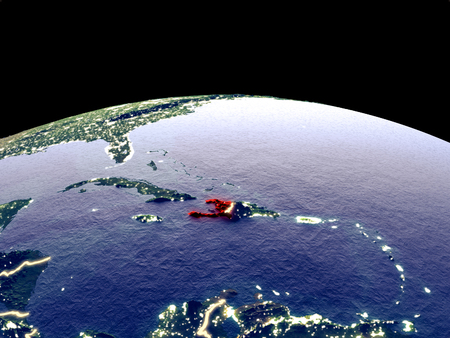 Haiti from space on planet Earth at night with bright city lights. Detailed plastic planet surface with real mountains. 3D illustration.