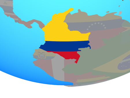 Colombia with national flag on simple political globe. 3D illustration. Foto de archivo - 112021284
