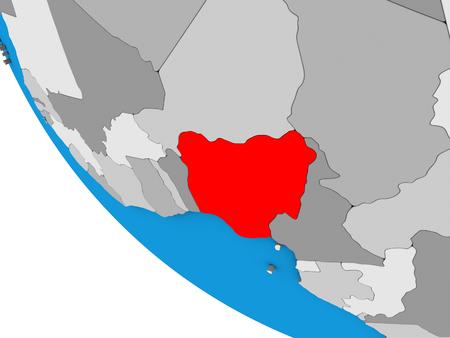 Nigeria on simple 3D globe. 3D illustration. Stock Photo