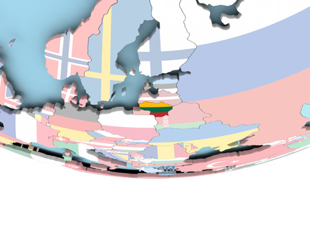 Lithuania on globe with flag. 3D illustration.
