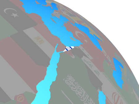 Israel with national flag on simple blue political globe. 3D illustration. Stock Photo