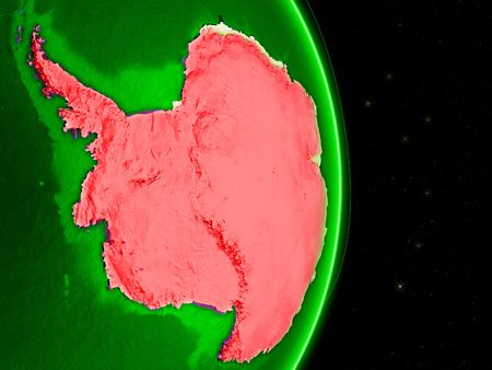 Antarctica on green Earth in space with networks. Concept of internet, telecommunications or air traffic between continents. 3D illustration.