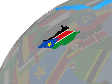 South Sudan with embedded national flag on globe. 3D illustration. 스톡 콘텐츠 - 112022467