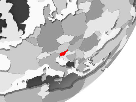 Illustration of Slovenia highlighted in red on grey globe with transparent oceans. 3D illustration.