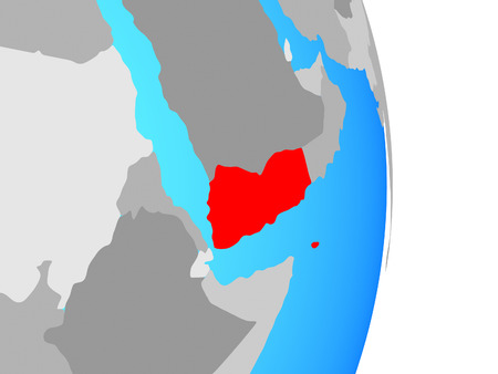 Yemen on simple political globe. 3D illustration.