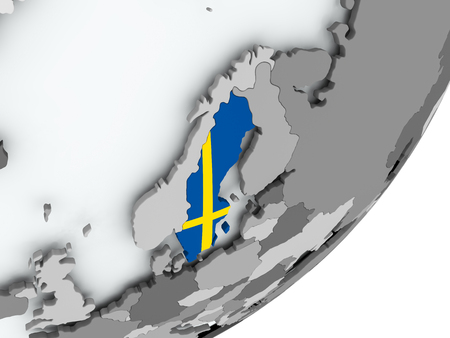 Sweden on political globe with flag. 3D illustration. Stockfoto